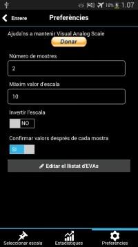Opciones del usuario de la Visual Analog Scale